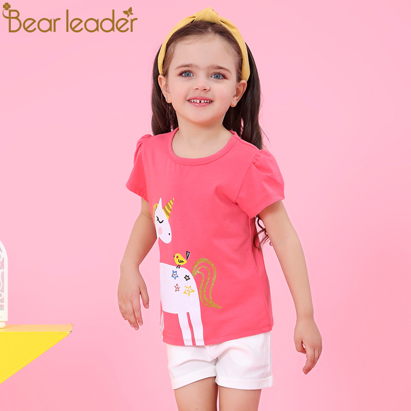 Bear Leader Girls Sets 2020 New Children Clothing Sleeveless Shirt +White Pants 2Pcs For Baby Girls Clothes Fashion Girls Suits