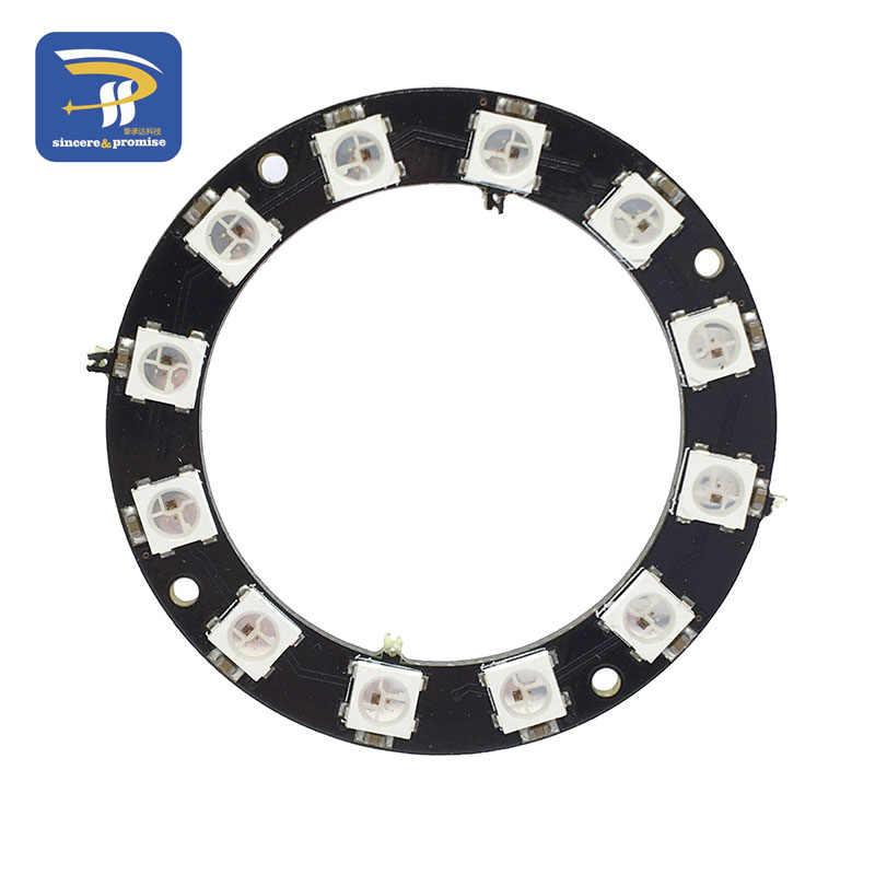 Pierścień LED RGB 1 3 4 7 8 12 16 24 32 bity diody LED WS2812 5050 RGB LED lampa pierścieniowa lampa LED ze zintegrowanymi sterownikami dla Arduino Diy Kit