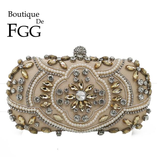 Boutique De FGG Women Crystal Beaded Clutch Bag Vintage Evening Bags Hand Made Party Wedding Handbags For Brides Bolsa Feminina