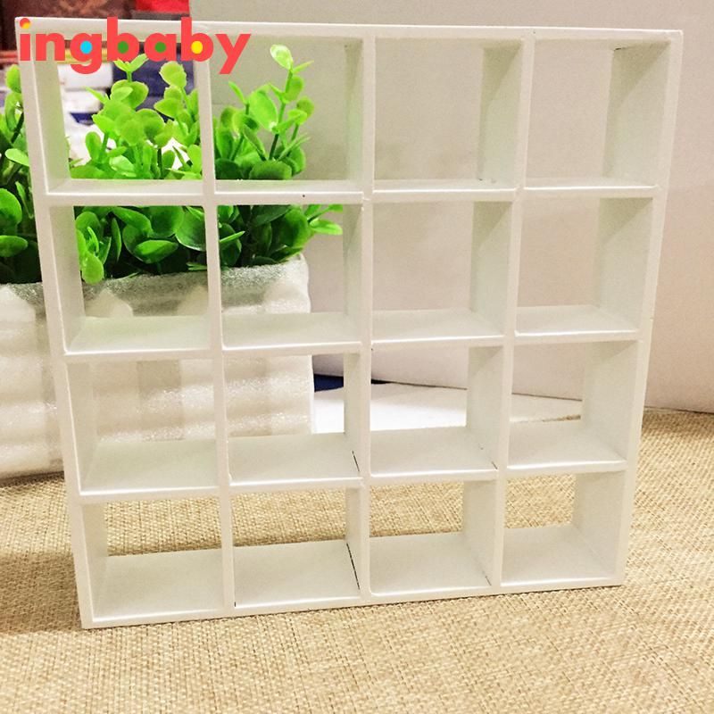 White 1: 12 Dollhouse Storage Rack Mini Accessories Furniture Wood 16 Grid Shelves Birthday Gift Children DIY Toy Ingbaby WJ1117