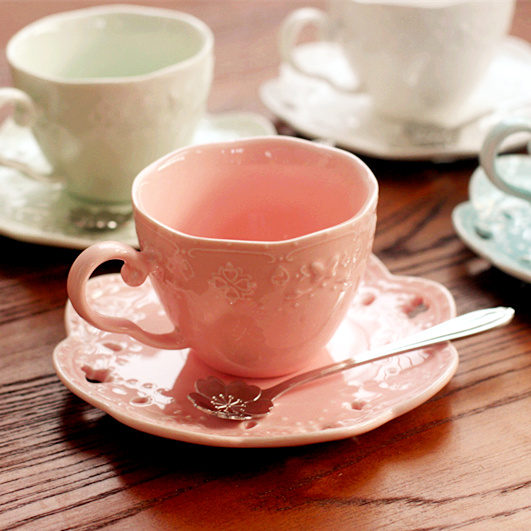 European style candy color bone china porcelain coffee/cupcakes tea set,ceramic afternoon teaset, 1 cup+1 dish+1 spoon+gifts,