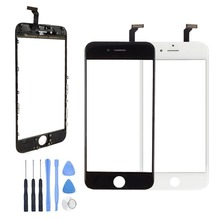 For iPhone 6 6 Plus Front Outer LCD Touch Screen Digitizer Glass Panel Sensor With Frame Bezel + Tracking Number