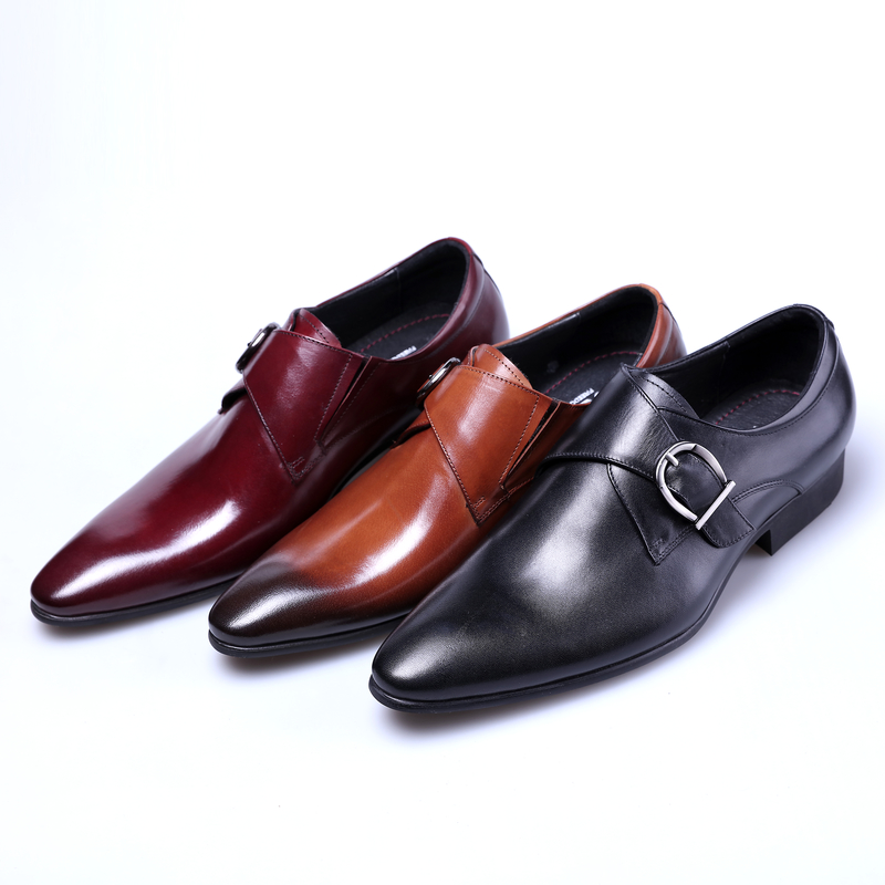 NEW Black / Brown / Brown Tan Pointed toe Business Shoes Mens Dress Shoes Genuine Leather Formal Wedding Shoes With Buckle