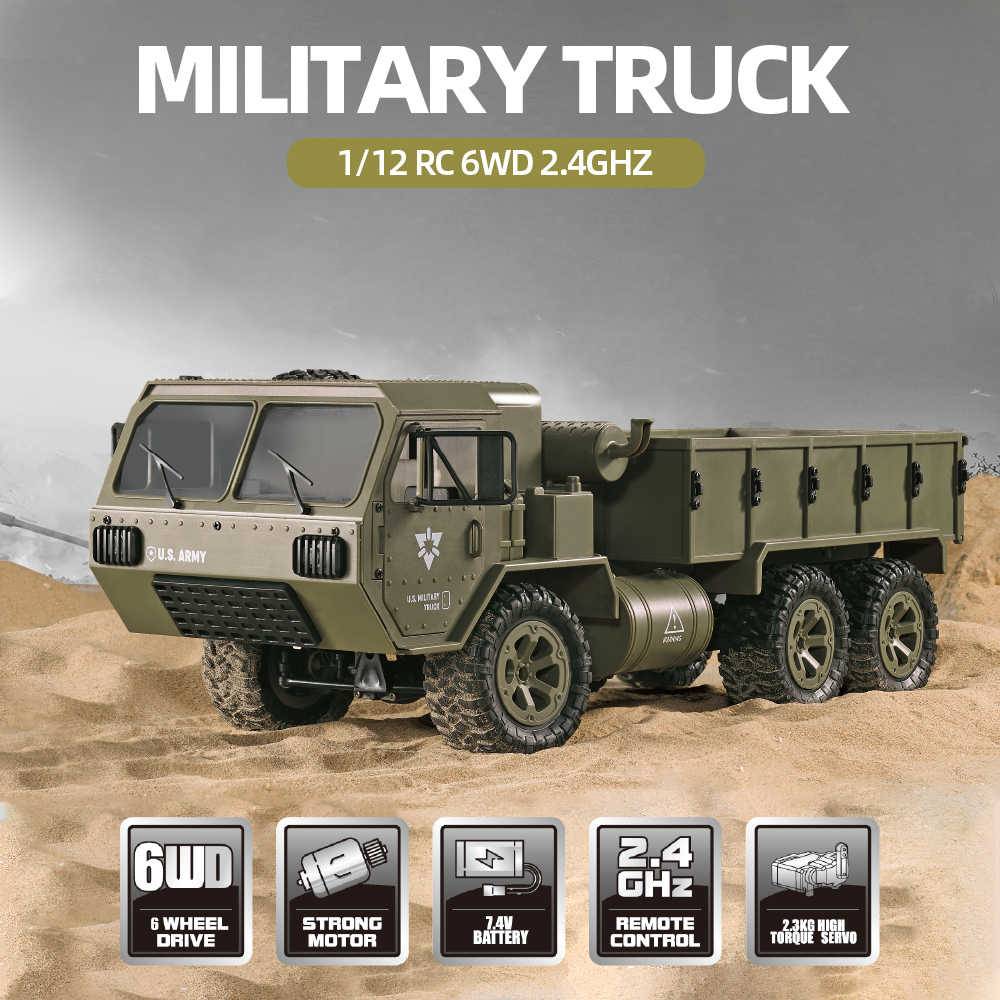 Fayee 1/12 RC Military Truck 2.4G 6WD 20km/h Remote Control U.S. Army Military Truck RTR Model Outdoor Vehicle Gift For Boy Toys