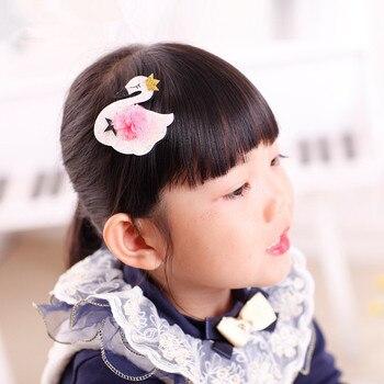 40pcs/lot Baby Girl Party Glitter Swan Hair Clips Birthday Hair Clips