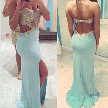 Sweetheart Long Prom Dresses Sleeveless Mermaid Open Back Front Split Applique Beading Sweep Train Evening Formal Party Dress