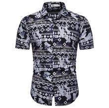 Hawaiian Shirt for Men Short sleeve Summer Casual Blouse Social Men's Shirts Blouse Mens clothing New