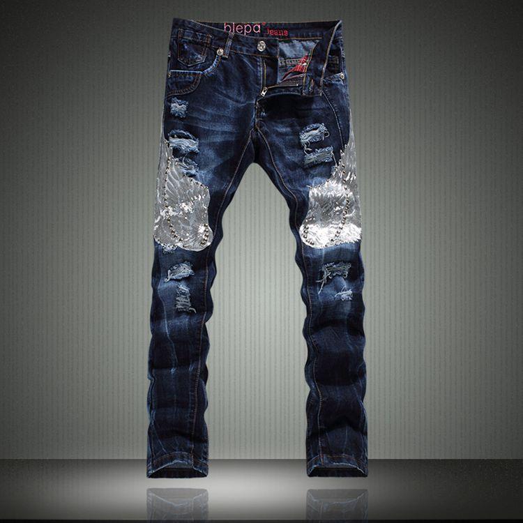 2015 New Designer font b Jeans b font font b Men b font Wings Appliques Famous