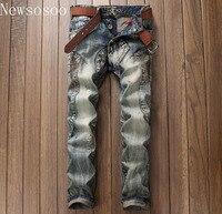 European American Style Luxury Quality Men S Slim Jeans Denim Trousers Straight Designer Fashion Brand Hole