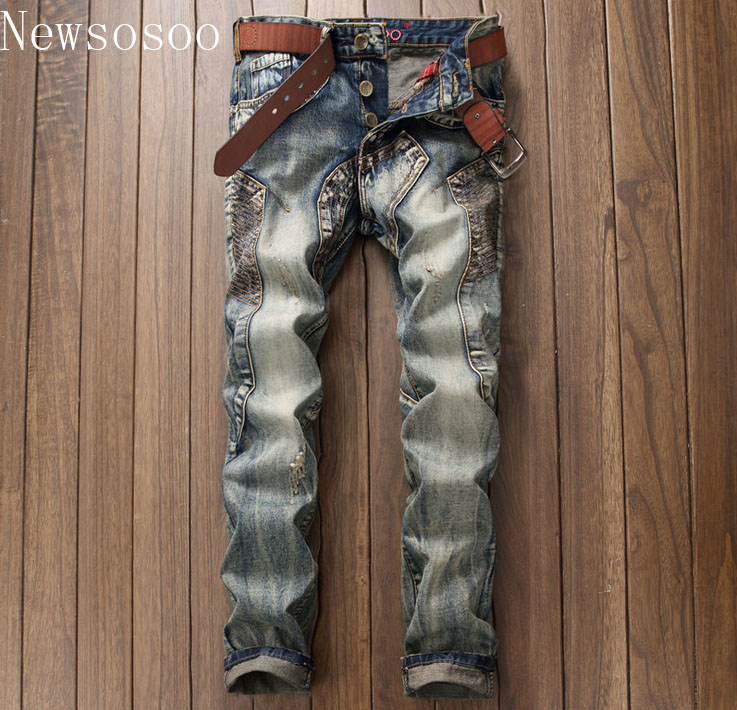 European American Style luxury quality Men's slim jeans mens denim trousers Straight vintage fashion brand blue jeans for men
