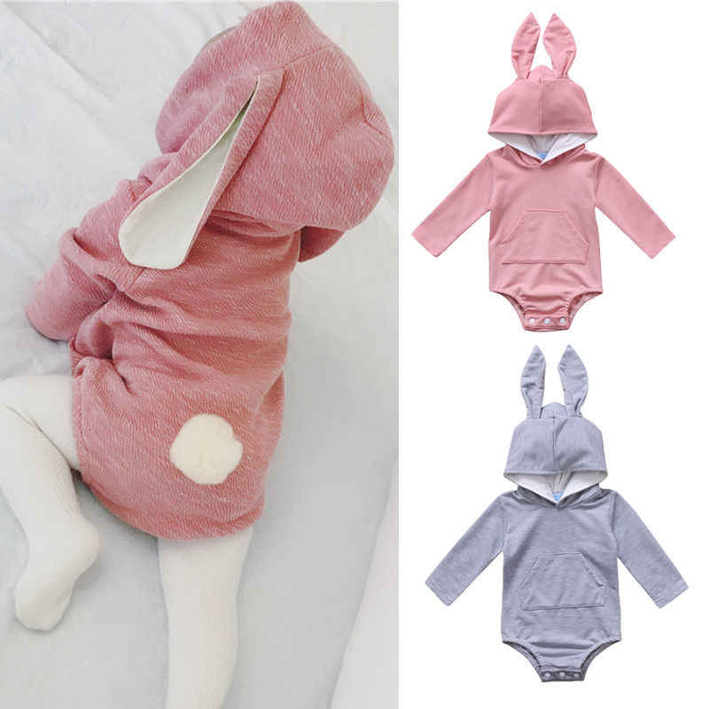b468325f130 Baby Clothing Cute Newborn Toddler Baby Girl Boys Hooded 3D Ear Romper Warm  Cotton Outfits Baby