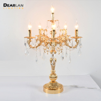 Vintage Silver/Gold/Bronze Table light Luxurious Crystal Desk Lamp with Wedding Candelabra for Hotel Restaurant Bedroom Lighting