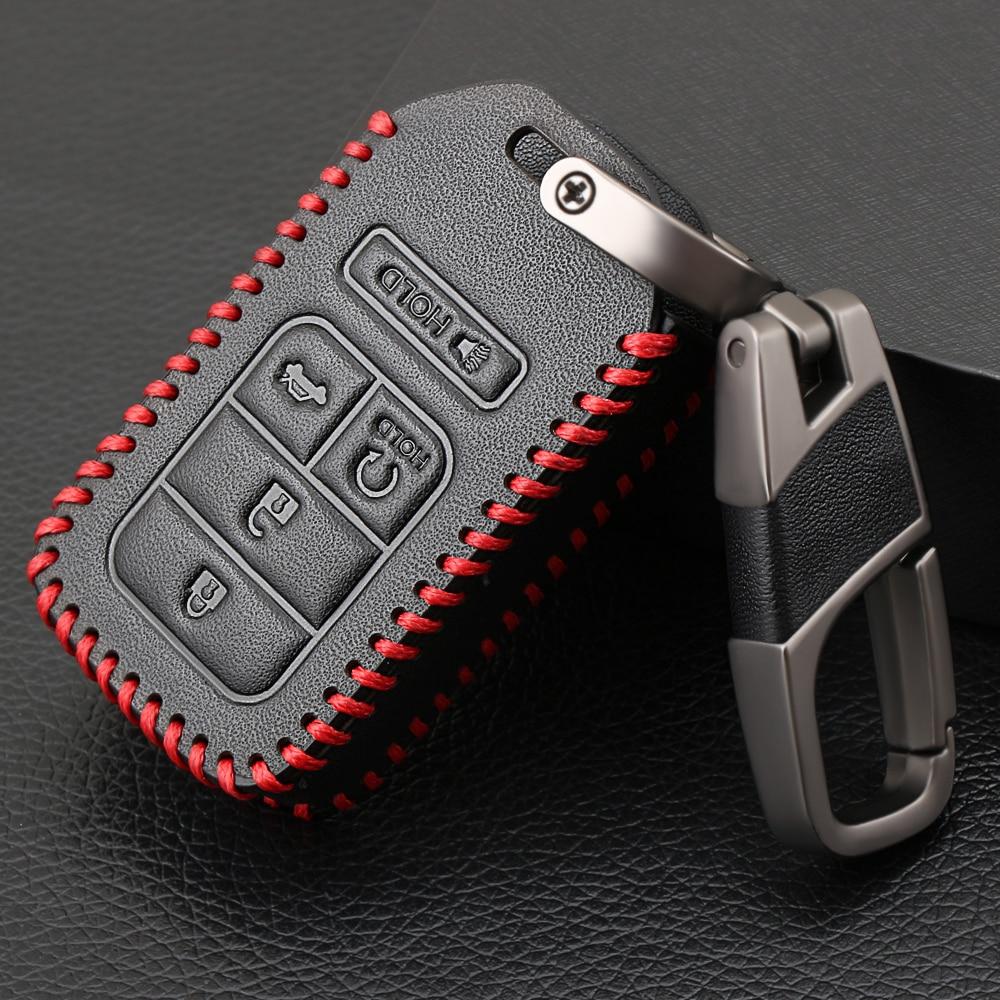 Смарт-брелок без ключа, чехол из натуральной кожи с 5 кнопками для Honda Civic Accord Pilot CRV 2015 2016 2017 2018