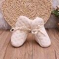 0-6 m bebê recém-nascido infantil meninos menina 100% algodão orgânico natural laço elástico primeiros caminhantes berço shoes 2016 do bebê macia quente shoes