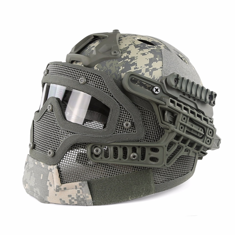 Camouflage Tactical Helmet BJ PJ MH ABS Mask with Goggles for Military Airsoft Army Paintball WarGame Motorcycle Cycling Hunting цена и фото
