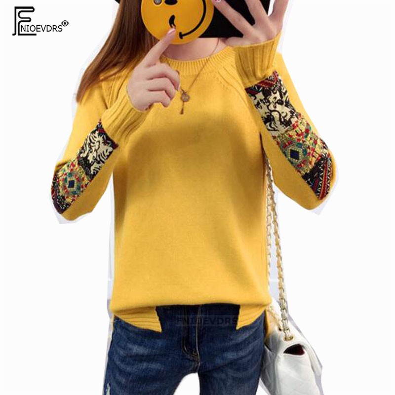 Winter Basic Pullovers Sweater Knit Tops Women Patchwork Design Pink Black White Yellow Khaki Printed Vintage Knitted Sweater