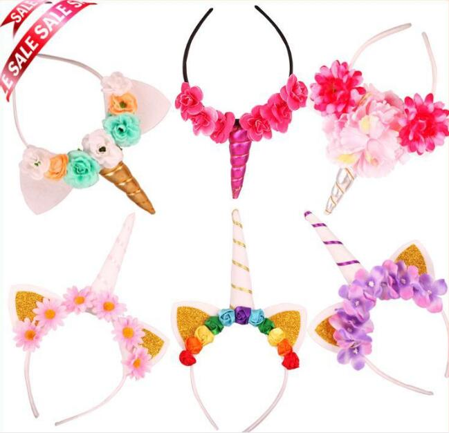 6pcs/lot Dreamy Blooming Unicorn Pony Party Costume Headband Kids Birthday Festival Decors Take Home Hairdbands Favor
