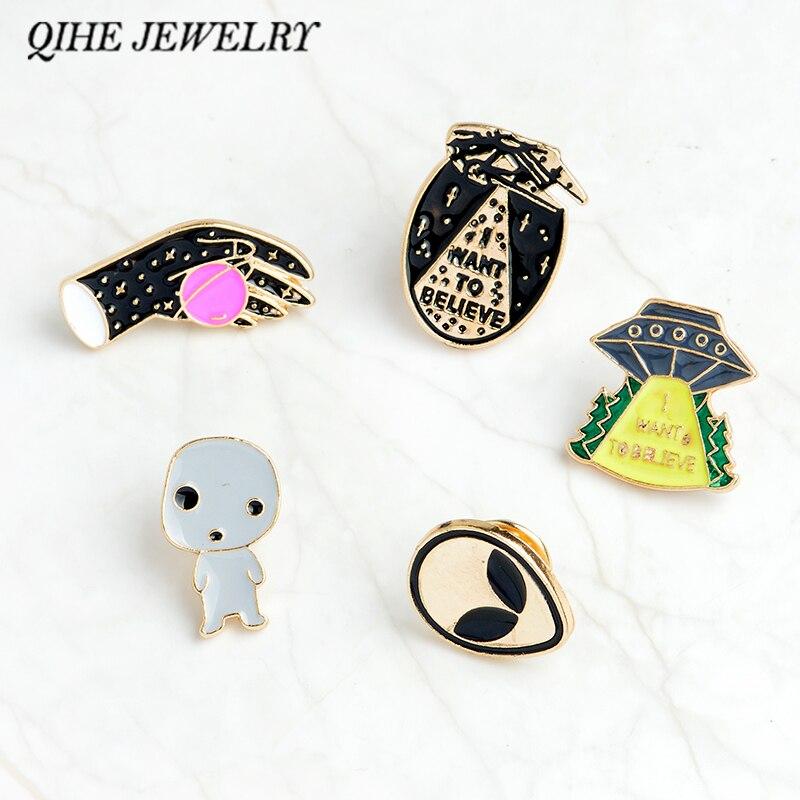 Qihe Jewelry Шпильки и броши я хочу верить НЛО чужеродных эмаль Булавки знак НЛО Булавки чужой Булавки сзади кнопка рюкзак ювелирные изделия