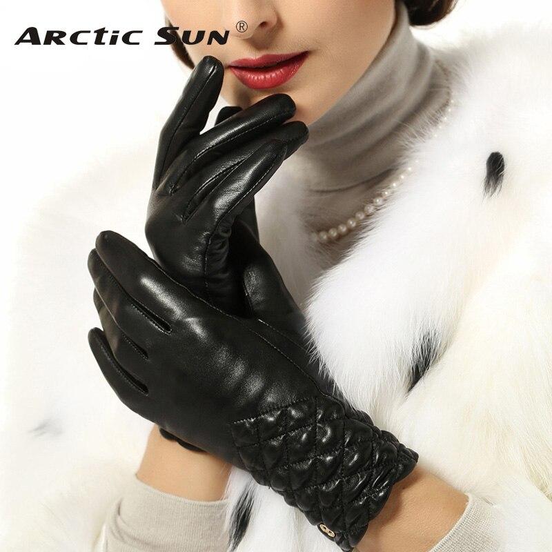 Women Gloves Wrist Elastic 2020 Top Fashion Goatskin Genuine Leather Solid Sheepskin Glove Thermal Winter Driving Free Shipping