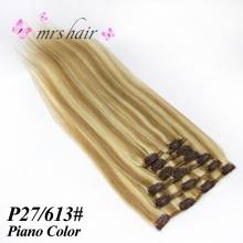 "MRSHAIR Clip in Hair Extensions 16 ""18"" 20 ""22"" Machine Made Remy Human Hair Clips Black Brown Blonde 100٪ Natural hair 100grams"
