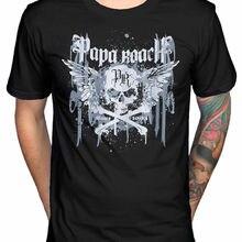 2a29399674 Oficial Papa Roach Crossbones Pinga T-Shirt F.E.A.R Metamorfose  Lovehatetrage Masculino Hip Hop engraçado Camisetas