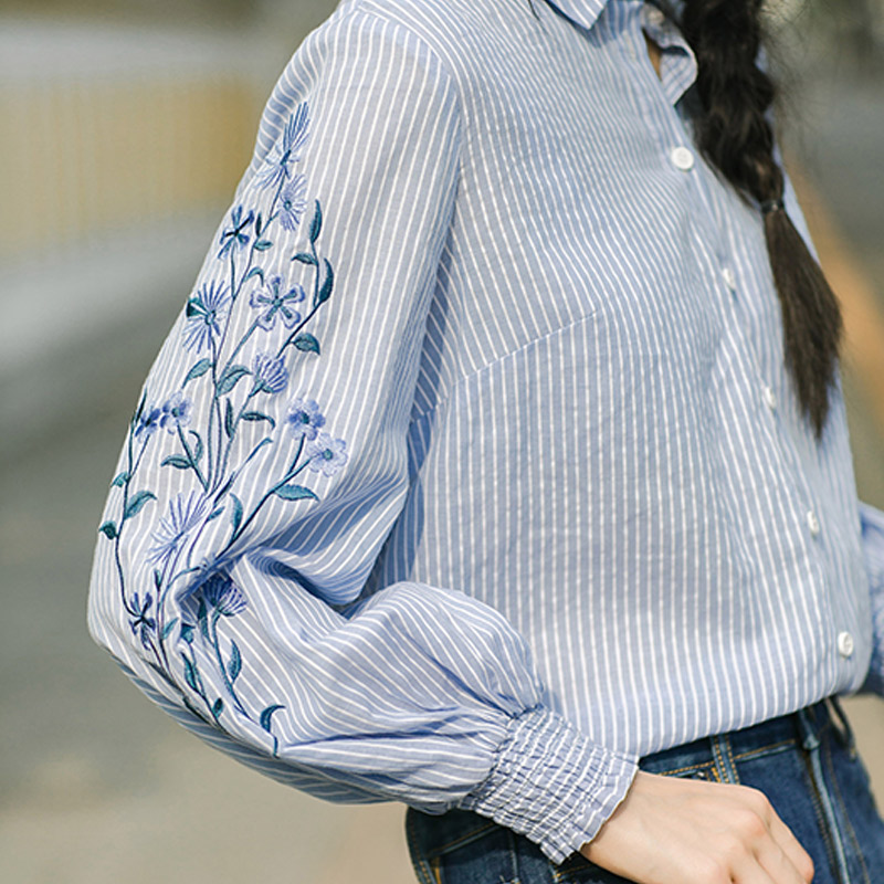 Image 4 - INMAN Spring Autumn Blouse Turn Down Collar Embroidery Stripped Loose Style All Matched Women Tops BlouseBlouses & Shirts   -