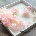 Color pink white real dry flower made Wedding Bride headdress wreath crown bridal hair accessories