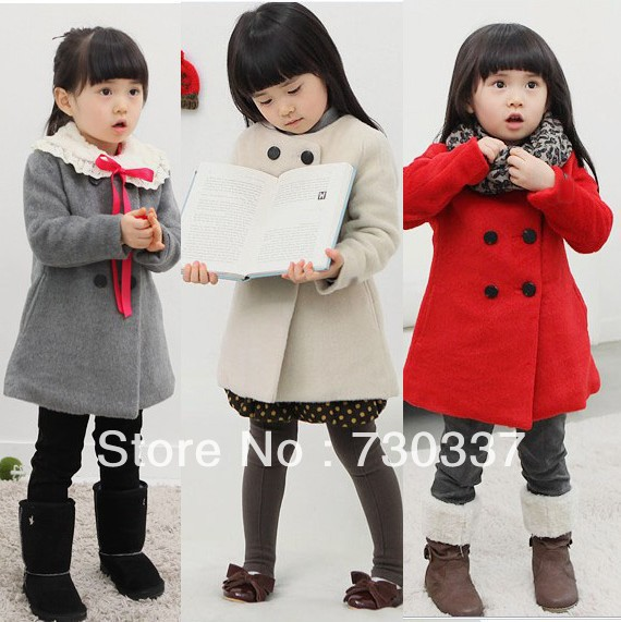 ФОТО Free shipping Children's clothing winter girls thick woolen coat / double-breasted coats long sections