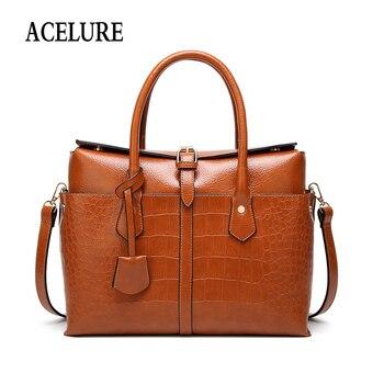 ACELURE Solid Color Pu Leather Satchels Women Fashion Alligator Shoulder Bags Ladies Business Handbag Female Crossbbody Bag grande bolsas femininas de couro