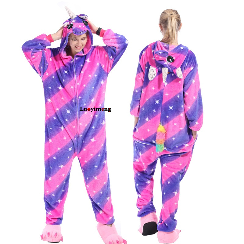 Kigurumi Pajamas For Women Adults Winter Flannel Cartoon Cosplay Jumpsuit Animal Onesie Unicorn Sleepwear Stich Pijama Unicornio