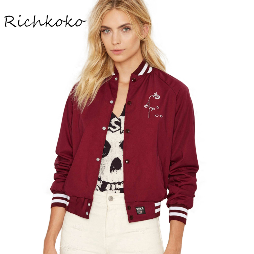 Richkoko Ropa Moda Casual Mujer Escudo Chaqueta Roja Elegante de la Impresión Fl