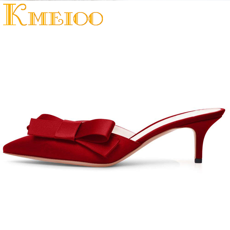 8203b570b3 Kmeioo Sweet Mule For Women Bow Tie Mules Slip-on Kitten Heels Pointed Toe  Sandals. sku: 32911167222
