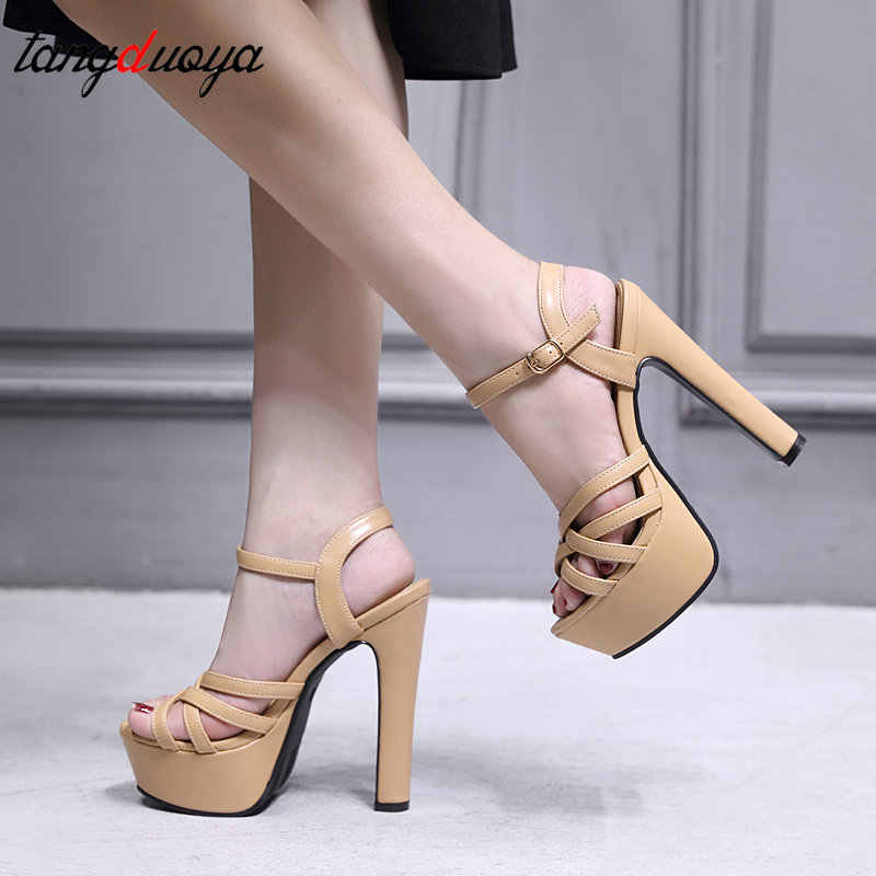hot sale ladies summer sandals platform high heels sexy sandals black open toe high heels 14cm summer fashion high heel sandals