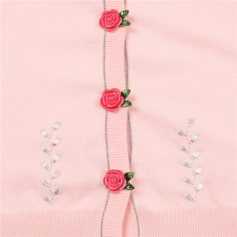 Sruilee Conception Cardigan Mignon Piste Pink Outwear Lurex Rose Printemps Haussement Femme En Mince Cardigans Tricot Boutons Douce Ruches Top rrTq4dzw