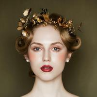 Rhinestone Pearl Flower Bridal Tiaras Headband Gold Baroque Crystal Diadem For Brides Crown Hair Jewelry