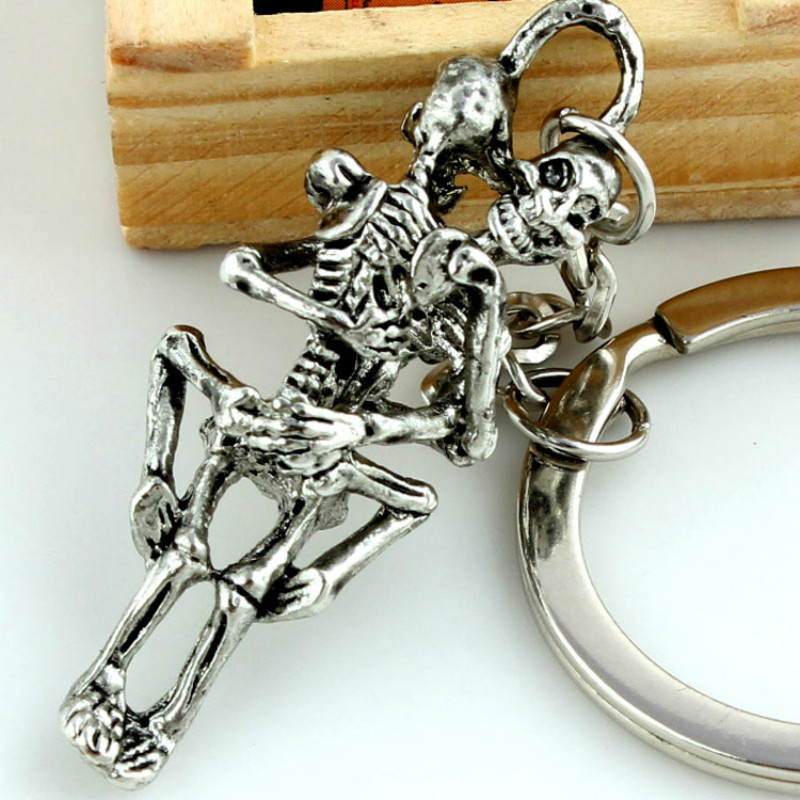 SPINNER Fashion Forever Love Dead To Love Punk Skeleton Key Chain Ring Keychain Keyring Gift Accessories
