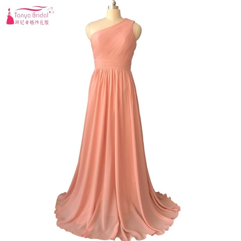 Blush Pink One shoulder Bridesmaid Dress Long Chiffon Zipper back elegant Formal Dress Brides maid Gowns ZB029