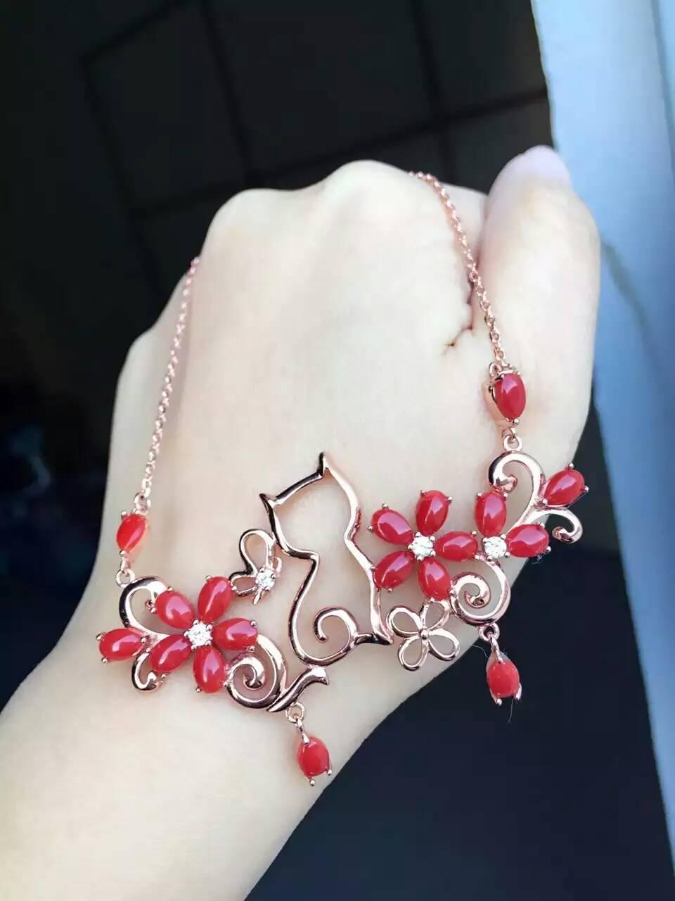 Collar de coral precioso rojo Natural colgante de piedras preciosas naturales Collar de plata S925 elegante jardín gato mujer joyería