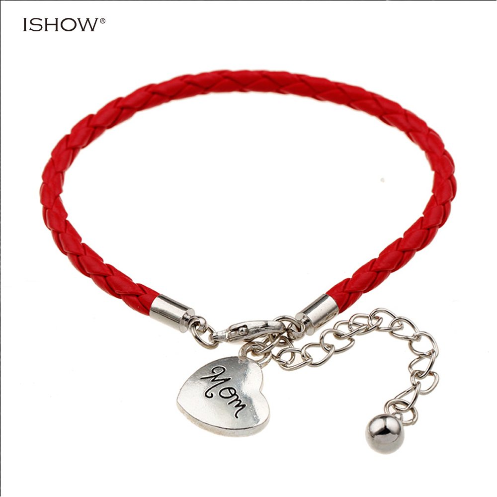 "New fashion hot selling Handmade Wristband Leather Charms bracelets""mom"" for mother's day gift & Bangles woman fashion Jewelry"