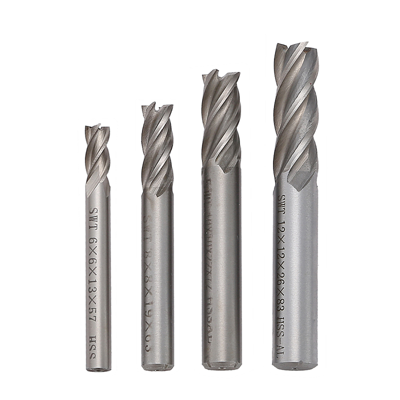 4 Pcs Milling Cutter Carbide End Mill CNC Tools HSS Diameter 6/8/10/12mm 4 Blades Flute Straight Shank Tools