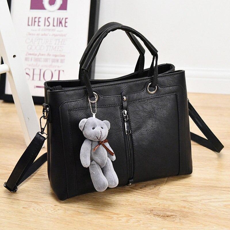Fashion Black PU Women Handbag Office Lady Shoulder Bag Ajustable Strap Crossbody Messenger retro lady s pu hand one shoulder bag w strap black