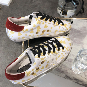 Fashion Gold Star Printed Women Sneakers Women dirty shoes do old Style Korean version leather leather flat botto tenis feminino