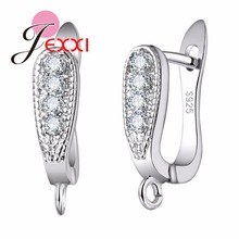 JEXXI 925 Sterling Silver Ear Hoop Jewelry Finding Accessories Cubic Zirconia Crystal Stone U-shape Earring Handmade Brincos Ear