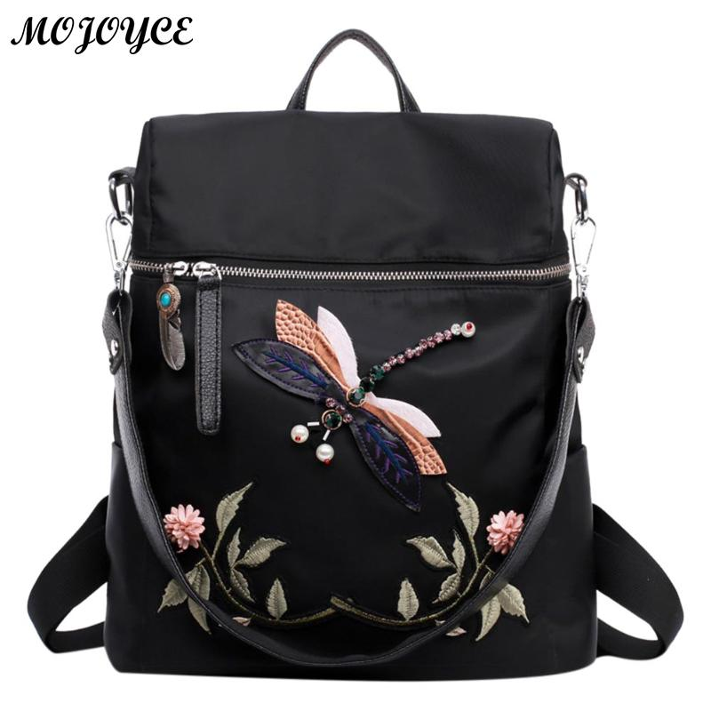 Women's Backpacks Girl Dragonfly Flower National Embroidery Print Handmade Dragonfly Lady Backpack Fashion 2 Ways Wearing
