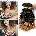 SALE! 4 Bundle Deals Grade 8A Brazilian Virgin Hair Deep Wave Ombre 1b 4 27 Three Tone Brazilian Hair Blonde Water Wave Weaves