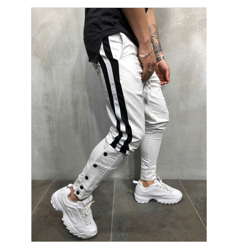 Men Casual Gym Slim Sports Fit Trousers Tracksuit Bottoms Skinny Joggers Sweat Drwastring Track Pants Button Harem Pants