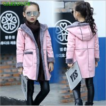 GARYDUCK Hot sales 2017 New autumn/winter girls thickened Long jacket children plus thick velvet cashmere outerwear girls coat