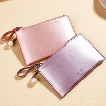 купить Women Wallet Mini Pearlescent Laser Leather Thin Female Purse Card Holder Key Coin Pures High Quality Short Wallets Small 2019 дешево