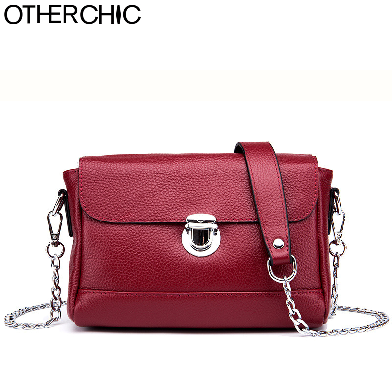 OTHERCHIC Brand Clemence Women Shoulder Bags Small Genuine Leather Designer Crossbody Bag Women Chain Strap Drop Shipping 8N0526