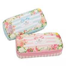 лучшая цена Romantic Garden Large Capacity Pencil Case for Girls Kawaii Stationery Bag Pouch School Supplies Printing Cute Flower Pencilcase